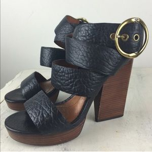 Lucky brand black strapped stacked heels